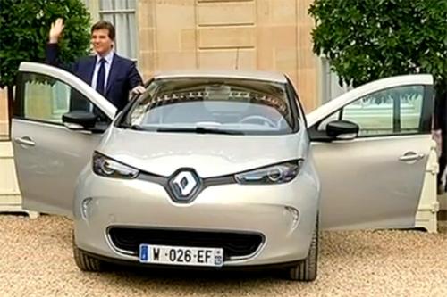L'excès de vitessde d'arnaud montebourg en Renault ZOE ZE