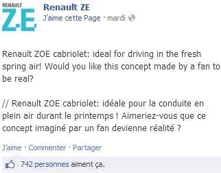 La Zoé cabriolet plaît aux internautes facebook de Renault ZE