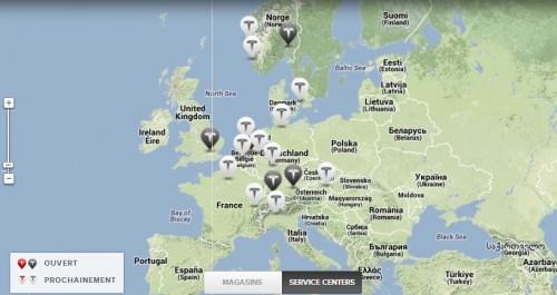 Points Services Center Tesla en Europe