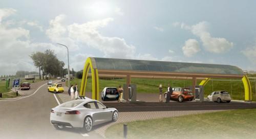 Une station de charge rapide aux Pays-Bas