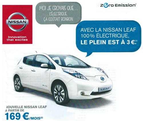 L'offre de location de la Nissan Leaf à 169€ par mois